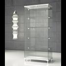 Vetrina con ripiani regolabili in cristallo temperato su piedi fissi cm. 85x45x190h