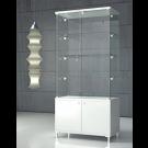Vetrina colore bianco lucido con mobile basso chiuso con ante doccia cm. 85x45x190h