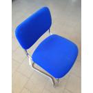 Seduta a slitta cromata in tessuto blu