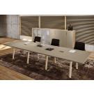 Doppio tavolo riunione per ufficio in melaminico cm. 420/560x120x73,4h