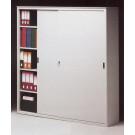 Armadio archiviazione ad ante scorrevoli in metallo e piani regolabili ad incastro cm. 150x60x200H