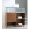 Banco vendita in vetro e legno per negozi con cassetti e parte espositiva cm. 119x40x120h
