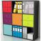 Composizione libreria con cassetti ed ante colorate