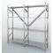 SCAFFALE in acciaio inox ad incastro con piani a gancio cm. 180x30x150h