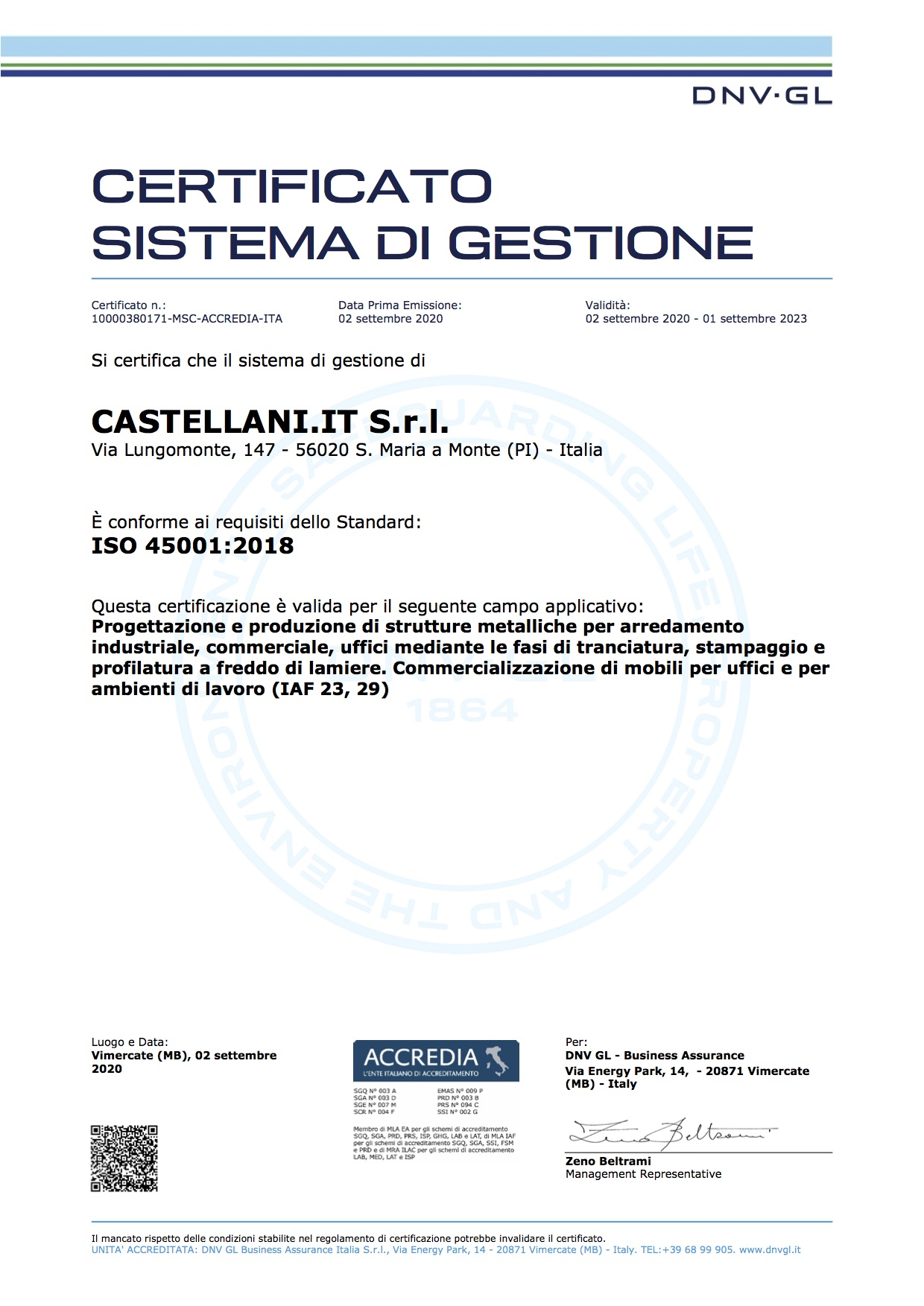 Certificazioni Aziendali Castellani Shop